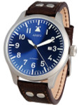 Aristo 3H159 47mm Swiss Automatic Pilot's Watch with Sunburst Blue Dial