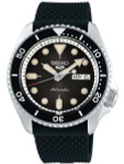 Seiko 5 Sports 24-Jewel Automatic Watch with Black Dial and Silicone Strap #SRPD95