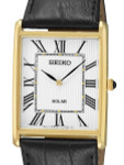 Seiko Classic Thin Solar Dress Watch with Goldtone Stainless Steel Case #SUP880