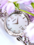 Seiko Ladies Solar Dress Watch with Swarovski Crystals, Mother of Pearl Dial #SUP359