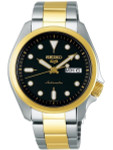 Seiko 5 Sports 24-Jewel Automatic Watch with Black Dial and Two-Tone Bracelet #SRPE60