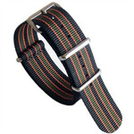 NATO-Style Black Nylon Strap with Green and Orange Stripes, Stainless Steel Buckle #NATO-3-SS