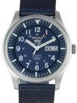 Seiko Military Blue Dial Automatic Watch with 42mm Case, Blue Canvas Strap #SNZG11K1
