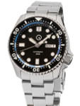Islander Automatic Dive Watch with Solid-Link Bracelet, AR Sapphire Crystal, and Luminous Ceramic Bezel Insert #ISL-02