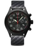 Aristo Aviator Style Quartz Chronograph Watch with Carbon Fiber Dial #0H15