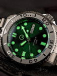 Islander Green Dial Automatic Dive Watch with Bracelet, Double-Domed AR Sapphire Crystal, and Embossed Ceramic Bezel Insert #ISL-44