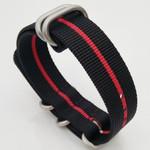 5-Ring NATO-Style Black, Red Stripe Nylon Strap with Matte Finish Steel Buckle #NATO5R-24-SS