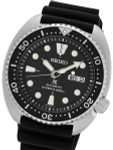 Seiko Turtle Prospex Automatic Dive Watch with Black Dial and Silicone Dive Strap #SRP777