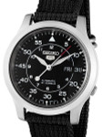Seiko 5 Military Black Dial Automatic Watch with Black Canvas Strap #SNK809K2