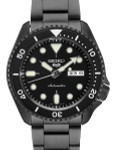 Seiko 5 Sports 24-Jewel Automatic Watch with Black Dial and Black PVD Bracelet #SRPD65