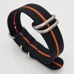 5-Ring NATO-Style Black, Orange Stripe Nylon Strap with Matte Finish Steel Buckle #NATO5R-23-SS