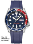 Crafter Blue 22mm Vulcanized Rubber Watch Strap for SEIKO SKX007-009-011 Curved End #CB10-B