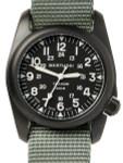 Bertucci A-2T Vintage Black Titanium Watch with Olive Drab Nylon Strap #12028