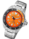 Seiko Samurai Prospex Automatic Dive Watch with Orange Dial and Stainless Steel Bracelet #SRPC07