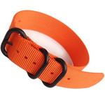 3-Ring NATO-Style Orange Nylon Strap with Matte PVD Finish Steel Buckle #NATO3R-17-PVD