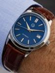 Islander Automatic Dress Watch with Pinstripe Blue Dial, AR Sapphire Crystal #ISL-33