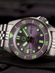 Islander 38mm Automatic Purple Dive Watch with Solid-Link Bracelet, AR Double Dome Sapphire Crystal, and Luminous Sapphire Bezel Insert #ISL-64