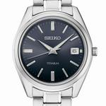 Seiko 40mm Titanium Quartz Watch with Sapphire Crystal and Titanium Bracelet SUR373