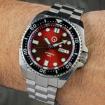 Islander Red Automatic Dive Watch with AR Double-Dome Sapphire Crystal, and Luminous Ceramic Bezel Insert #ISL-66
