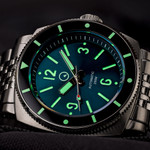 Islander Blue-Green Sandwich Dial Automatic Dive Watch with AR Sapphire Crystal, and Luminous Ceramic Bezel Insert #ISL-79