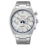 Seiko Quartz Chronograph with 60-minute timer, stop-watch style pusher and a 24-hour sub-dial  #SSB395
