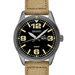 Seiko 43mm PVD Case Quartz watch with an easy-to-read black dial with day and date #SUR493