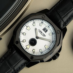 Lum-Tec 44mm Watch with White Dial, Big-Date, and Anti-Reflective Sapphire Crystal #V-10