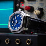 Lum-Tec 44mm Watch with Blue Sunburst Dial, Big-Date, and Anti-Reflective Sapphire Crystal #V-8