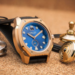 Lum-Tec 44mm Goldtone Watch with Blue Dial, Big-Date, and Anti-Reflective Sapphire Crystal #V-13