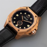 Lum-Tec 44mm Goldtone Watch with Black Dial, Big-Date, and Anti-Reflective Sapphire Crystal #V-14