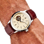 Islander Automatic Open-Heart Watch with Pinstripe Dial, AR Sapphire Crystal #ISL-97