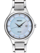 Seiko Women's Solar Dress Watch with 12 Diamond Hour Markers, Mother of Pearl Dial #SUT351