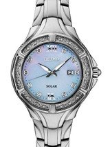 Seiko Women's Solar Dress Watch with 28 Diamonds and Mother of Pearl Dial #SUT371