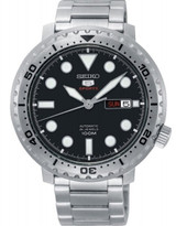 Seiko 5 Sports Automatic 24-Jewel Bottle-Cap Watch with Black Dial #SRPC61K1