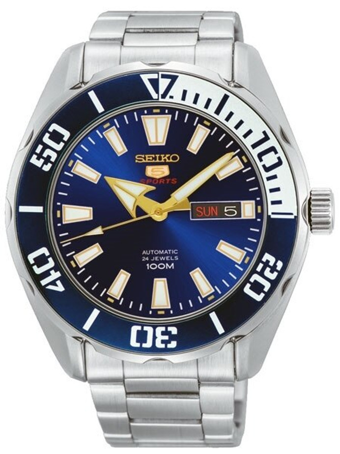 Seiko 5 Sports Automatic 24-Jewel Watch with Blue Dial and SS Bracelet #SRPC51K1
