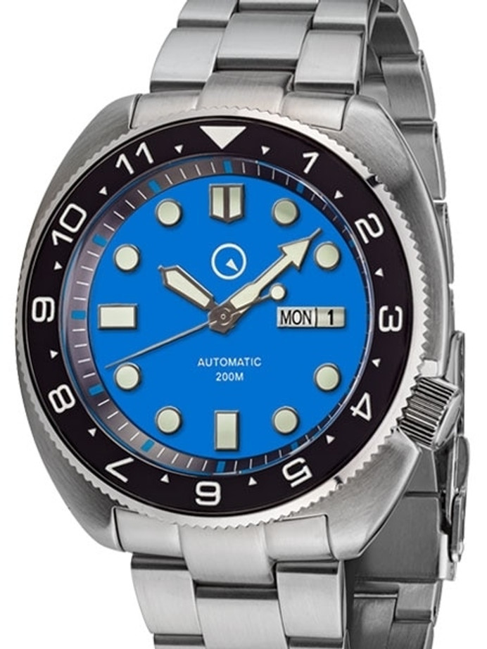 Islander Dual-Time Automatic Dive Watch with AR Double Dome Sapphire Crystal, and Luminous Ceramic Bezel Insert #ISL-31