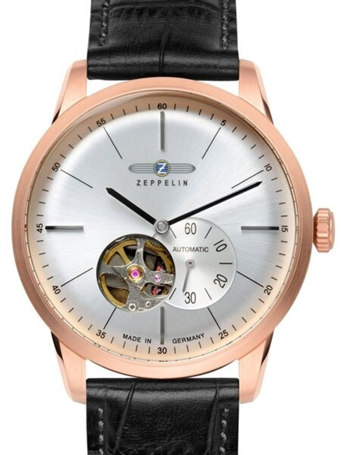 Graf Zeppelin Flatline Automatic Open-Heart Watch with Small Seconds #7362-4