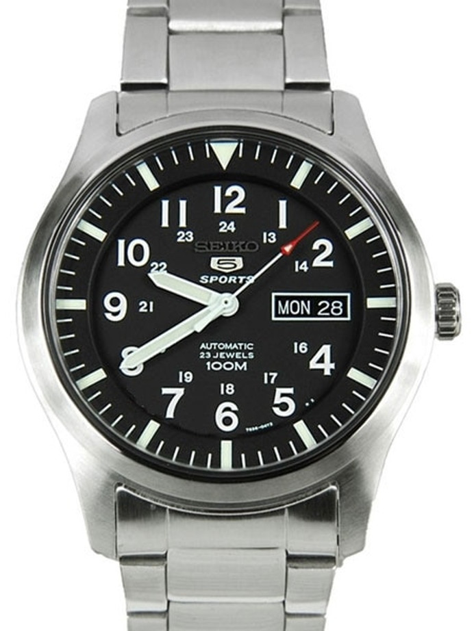 Seiko Military Black Dial Automatic Watch with 42mm Case, and SS Bracelet  #SNZG13K1