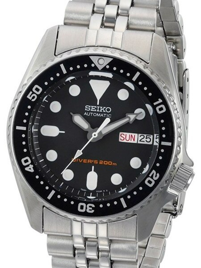 Seiko Black Automatic Dive Watch with Stainless Steel Bracelet #SKX013K2