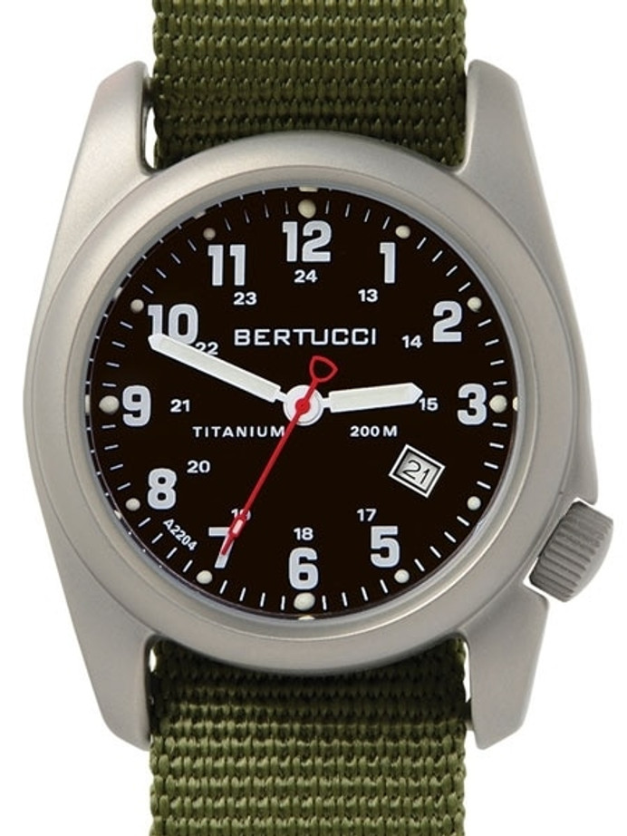 Bertucci A-2T Black Dial Titanium Watch with Olive Nylon Strap #12122