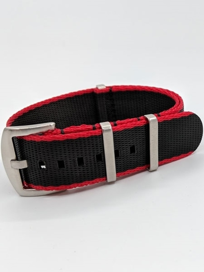 NATO-Style Black and Red Seat Belt Weave Nylon Strap with Stainless Steel Buckle  #SB-06-SS