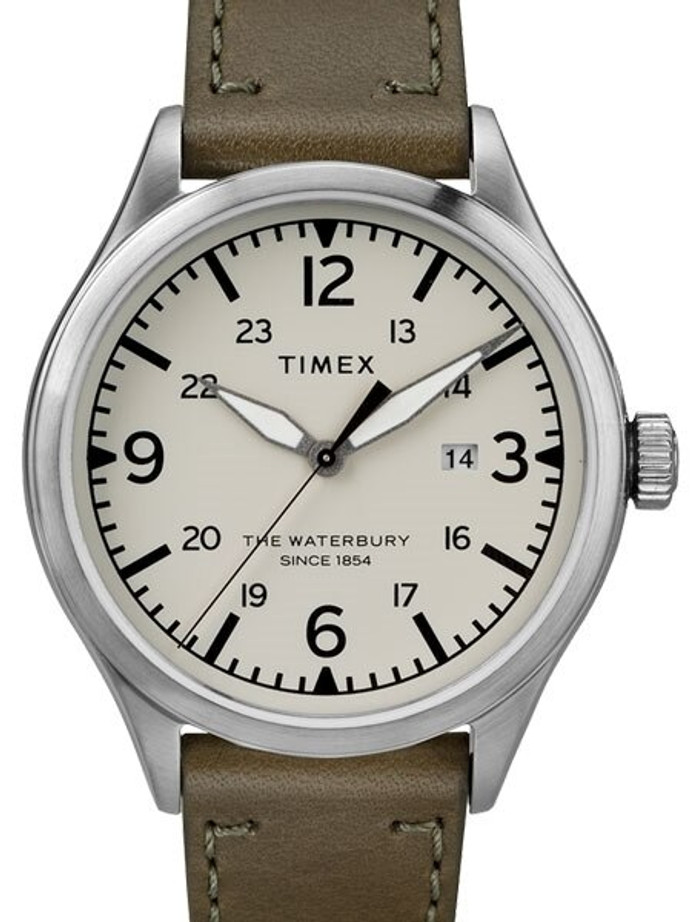 Timex 40mm Waterbury Quartz Watch with Creme Dial and INDIGLO Night-Light #TW2R71100VQ