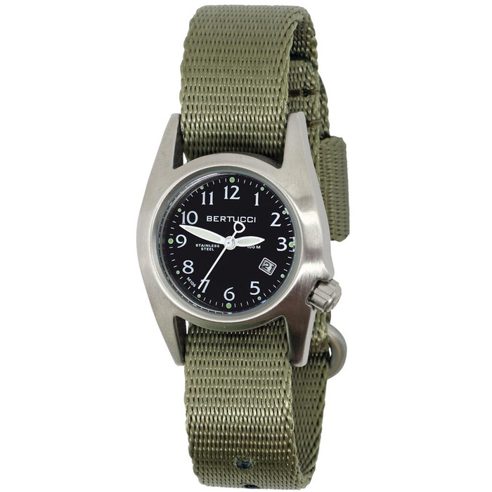 Bertucci M-1S Women's Stainless Steel Field Watch with a Nylon Strap #18012