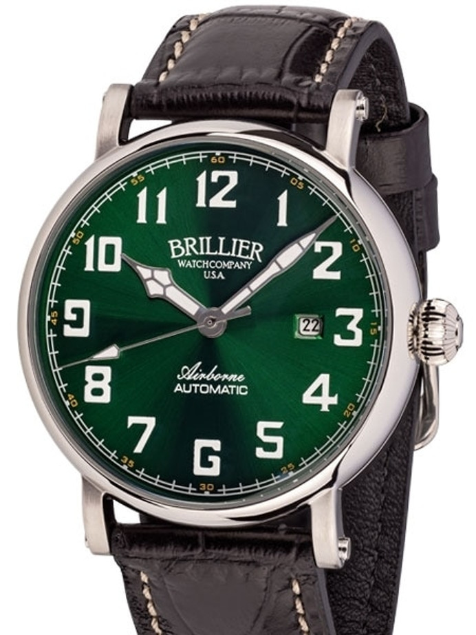 Brillier Green 43mm Airborne Automatic Watch with Horween Leather Strap #BR-15