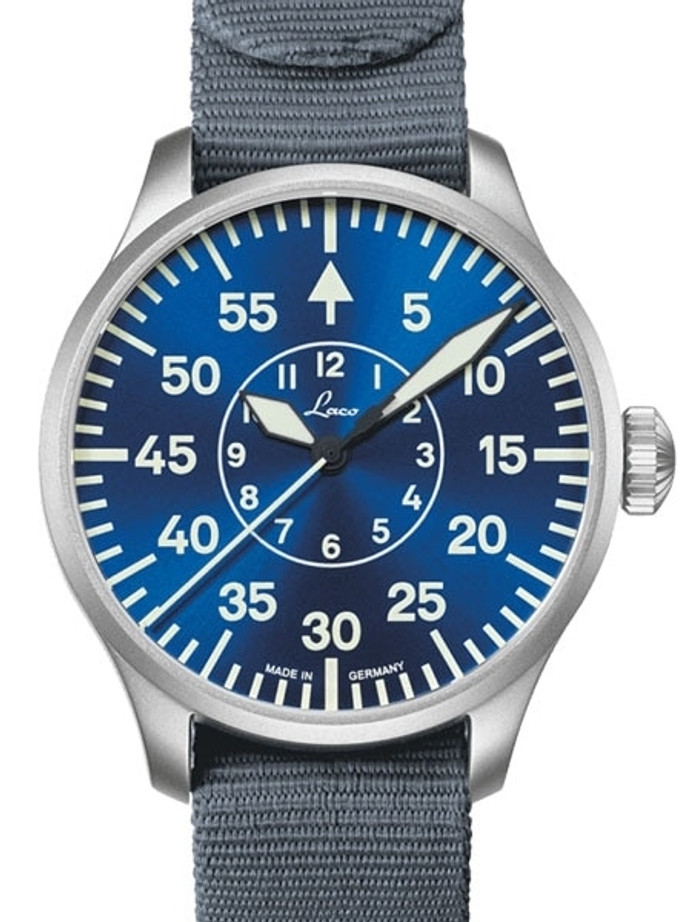 Laco 42mm Aachen Blaue Stunde Automatic Pilot Watch with Sapphire Crystal #862101