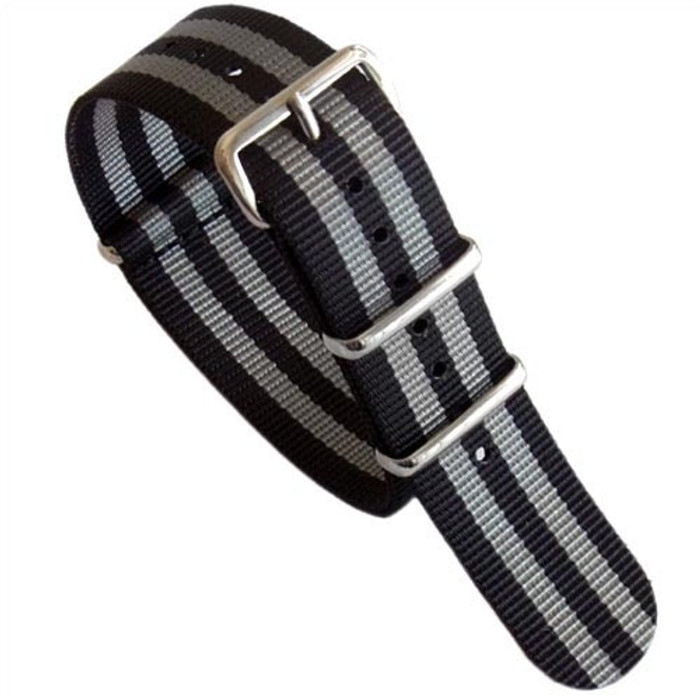 NATO-Style Black and Grey Striped Nylon Strap with Stainless Steel Buckles  #NATO-4-SS