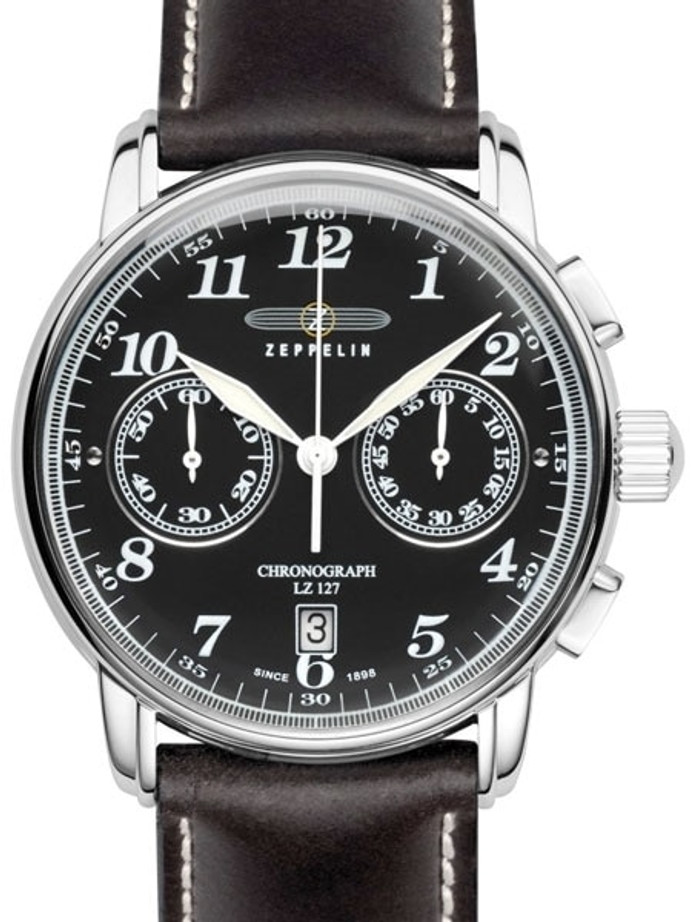 Graf Zeppelin LZ 127 Quartz Chronograph Watch with Black Dial #7678-2