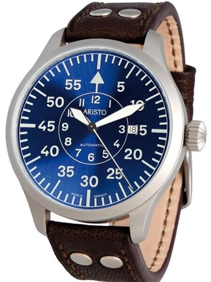 Aristo 3H158 47mm Swiss Automatic Pilot's Watch with Sunburst Blue Dial