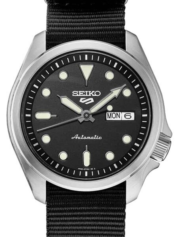 Seiko 5 Sports 24-Jewel Automatic Watch with Black Dial and Band #SRPE67