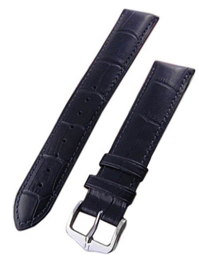 Hirsch Extra-Long Duke Black Alligator Embossed Natural Leather Watch Strap #010282-50
